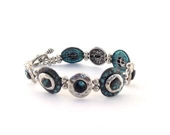 Patina Blue Two Strand Bracelet - Patina Silver -Bracelet - Cuff Style Bracelet - Double Strand Bracelet - Dark Blue Bracelet -Boho Bracelet