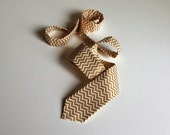 Creme and Gold Chevron Necktie - Skinny or Standard Width - Men, Teen, Youth-        2 weeks before shipping   PROM