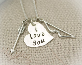 Valentine's Day Gift Bow and Arrow Charm Necklace  Personalized Sterling Silver Hand Stamped Jewelry