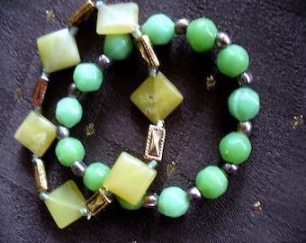 Pair of Green Bracelets, stretch bracelets