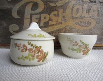Vintage Sugar Bowl and Soup Cup Leaf Pattern Mayer China Shasta Restaurantware