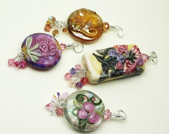 Pendant Upgrade ~ SRA Lampwork Glass Bead Pendant and Sterling Silver with Swarovski Crystals