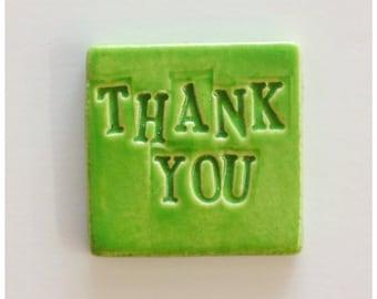 LIME Green THANK YOU Tile