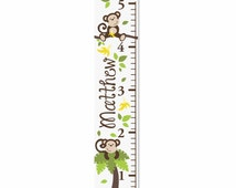 Monkeys Personalized Canvas Growth Chart