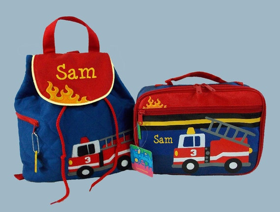 Personalized Child's Stephen Joseph FIRETRUCK Backpack and Lunchbox School Set-Monogramming Included