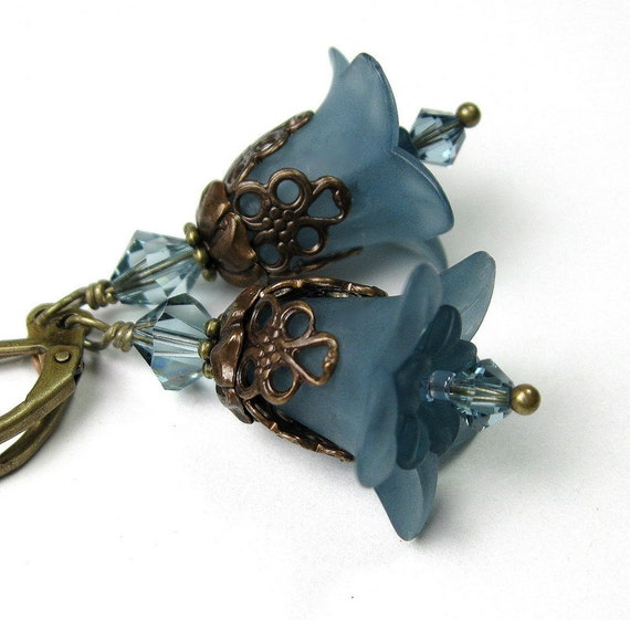 Flower Earrings, Vintaj Brass, Slate Blue, Dangle Earrings, Swarovski Jewelry, Lucite Flowers, Soft and Feminine, Womens Accessories, Blue
