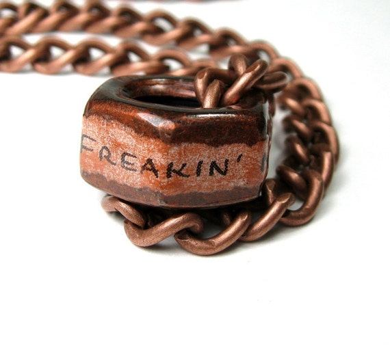 Freakin' Nut Job, Industrial Chic, Hex Nut Necklace, Metal Jewelry, Antiqued Copper, Humorous, Gifts For Men, Biker, Steampunk, Mature