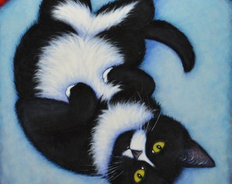 Charlie Hamming it Up.  Archival 8.5x11 tuxedo cat print