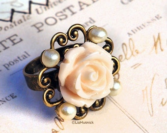 Rose and Faux Pearls Filigree Ring - Cocktail Ring, Adjustable, Peach Flower, Wedding Belle Collection by Liz Hutnick
