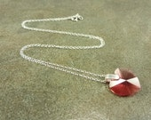 Padparadscha Crystal Heart Sterling Silver Necklace LUXE LINE