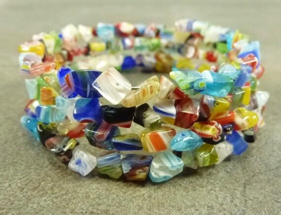 Flower Power - Colorful Millefiori Glass Chip Memory Wire Bracelet Multi