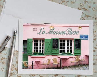 Paris Photo Notecard - Pink Cafe Note Card, Floral Photo Notecard, Stationery, Blank Notecard