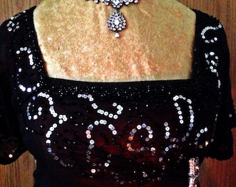 Titanic Dinner Dress, FULLY beaded, FIRST installment of 5