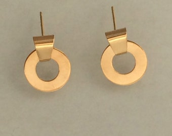 14k Yellow Gold Lifesaver Earrings, Handmade in Maine
