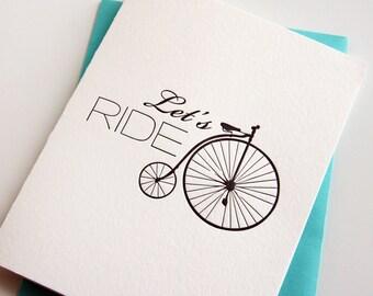 Letterpress Friendship Card - Let's Ride Bikes