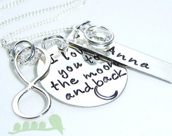 Sales - I Love you to the moon and back necklace - Mommy charm necklace- Handstamped jewelry - Women jewelry  - Infinity charm necklace