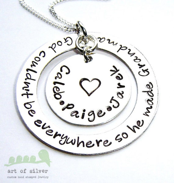 Grandmother necklace - Handstamped jewelry - Grandkid's names silver charm necklace - God couldn't be everywhere so he made grandma