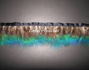 Peacock plumage feather fringe blue irridescent color 2 yards trim