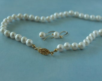 White pearls 8-9mm / 0.31'' , silk cord hand knotted cultured pearl necklace 45 cm / 17.7'' in. + free earrings.