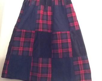 vintage plaid skirt grunge tartan Mr Hank patchwork quilted velvet wool