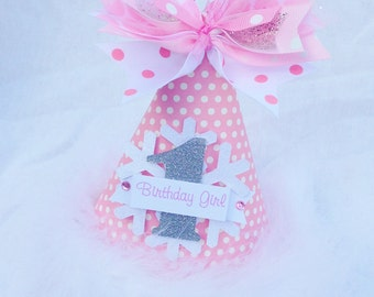 Winter Onederland Birthday Party Hat in pale pink and silver polka dot snowflake