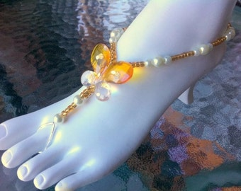 Butterfly barefoot sandals yellow anklet thong summer sandle beachy pearls stretch sparkly cruise