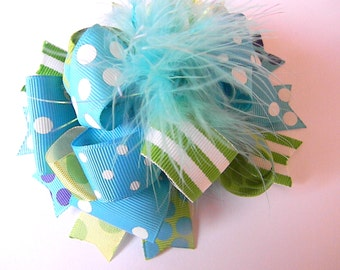 Over the top Hair bows - Turquoise Lime Polka Dot Blue Bow