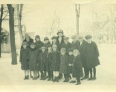 1925 Sunday School Class Kids Teacher Standing Outside WInter Snow Coats Hats Antique Vintage Black and White Photo Photograph