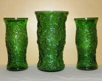 "Vintage Hugh Emerald Green Lido Set, One 11"" and Two 9 3/4"" Vases"