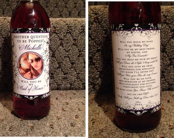 Private Listing for idoblueeyes122 Customized Bridesmaid Photo Wine Labels - Damask - Front and Back Label Sets