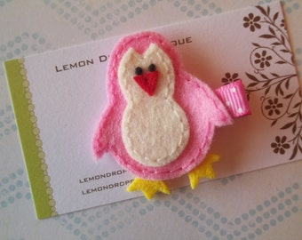 Hair Clip-Pink and White Felt Penguin Hair Clip-No Slip Grip-FREE SHIPPING on 25 Dollar Orders!!