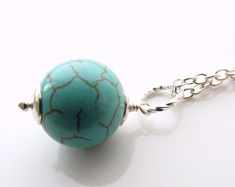 Simple turquoise pendant, turquoise necklace, turquoise jewelry