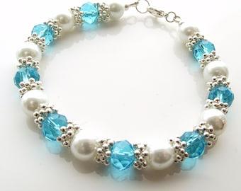 white blue and silver beaded bracelet, bling bracelet, glass pearl and crystal bracelet