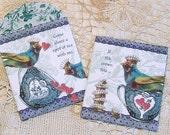 Tea Bag Envelopes Or Blue Bird Toile Gift Bags - Digital INSTANT Download - Tea Party Favor With Heart Teacup Crown Design - Set Of 2 CS48M