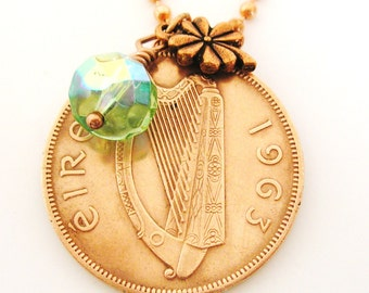 1963 IRISH Copper Coin CHARM Necklace-1963 Irish Penny Ireland Necklace
