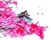 Japanese Temple Scene, print from original watercolor illustratino by Jessica Durrant