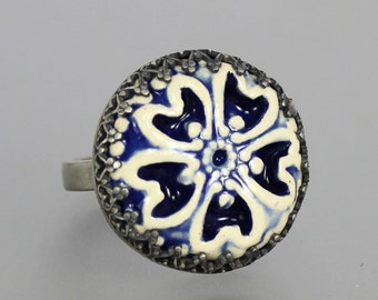 Porcelain Silver Ring - Blue and White Porcelain Ring - Ceramic Button Silver Ring - Blue White Ceramic Cabochon - Sterling Silver - US 7.5