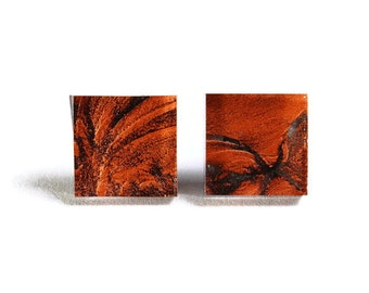 Copper orange glass square stud post earrings (705) - Flat rate shipping