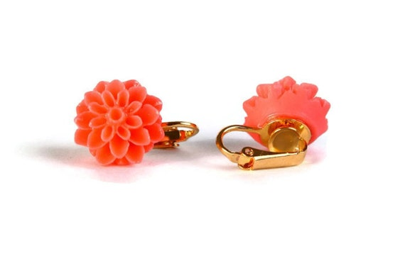 Salmon flower and gold plated clip on earrings READY to ship (291) - Flat rate shipping