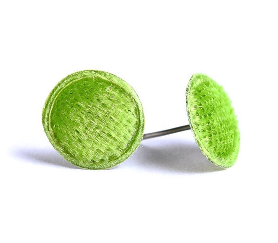Sale Clearance 20% OFF - Green lime mint velvet padded round dot hypoallergenic stud earrings READY to ship (353)
