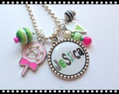 Personalized Necklace for Little Girls - Just for Fun - Lollipop and Ice Cream Pendant Bezel Set Jewelry #B50
