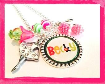 Ballerina Necklace - Personalized Jewelry - Ballet Pendant - Bezel Set Dance #B43