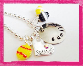 SOFTBALL Personalized Necklace for Girls - Custom Handstamped - with your team colors #S55