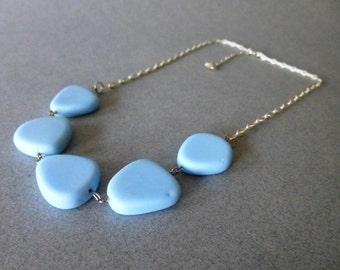 Pale Blue Vintage Glass Bead Necklace // Minimalist // Silver