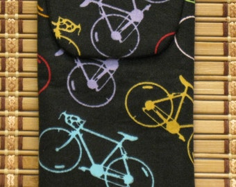 Eyeglass Case / Cellphone Case---Colored Bicycles  with Magnetic Closure