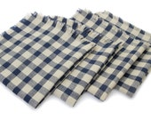 Cloth Napkins - Navy/Beige Gingham - Set of 4