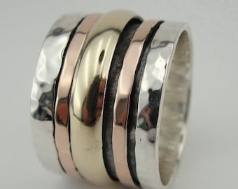 Weddings Israeli Fine Gold and Sterling Silver Swivel Band / Ring size 8 (i r587