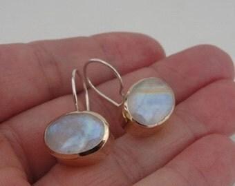Hadar Designers Israel Great Art Handmade Silver Gold Moonstone Earrings (I e36)
