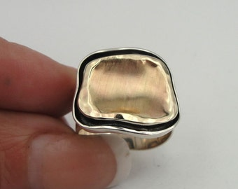 Fabulous Handmade 9K Yellow Gold Silver Ring Size 8 (I r419)
