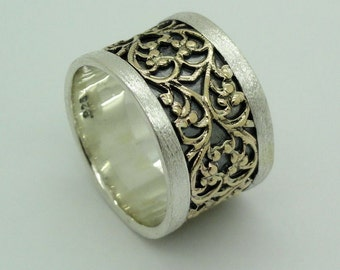 Fine Israel Handmade Elegant Filigree Gold Silver Lace Ring size 8 (I r244)